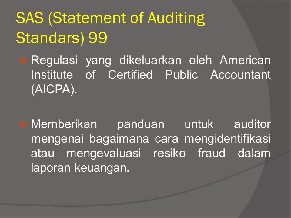 SAS (Statement of Auditing Standars) 99  Regulasi yang dikeluarkan oleh American Institute of Certified Public Accountant (AICPA).  Memberikan pandu
