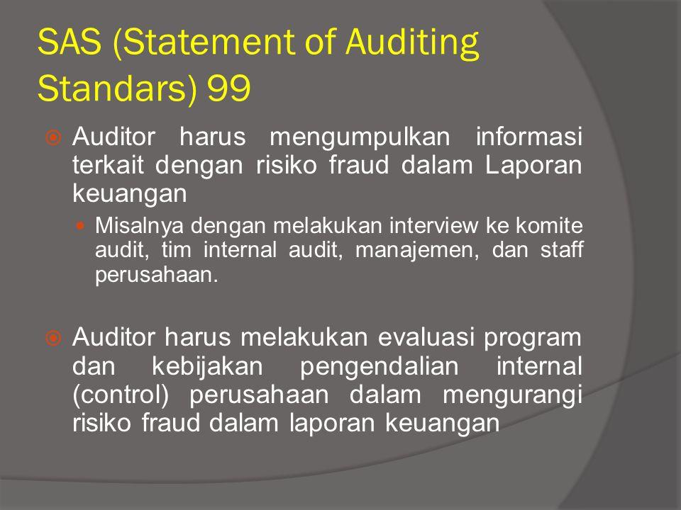 SAS (Statement of Auditing Standars) 99  Auditor harus mengumpulkan informasi terkait dengan risiko fraud dalam Laporan keuangan Misalnya dengan mela