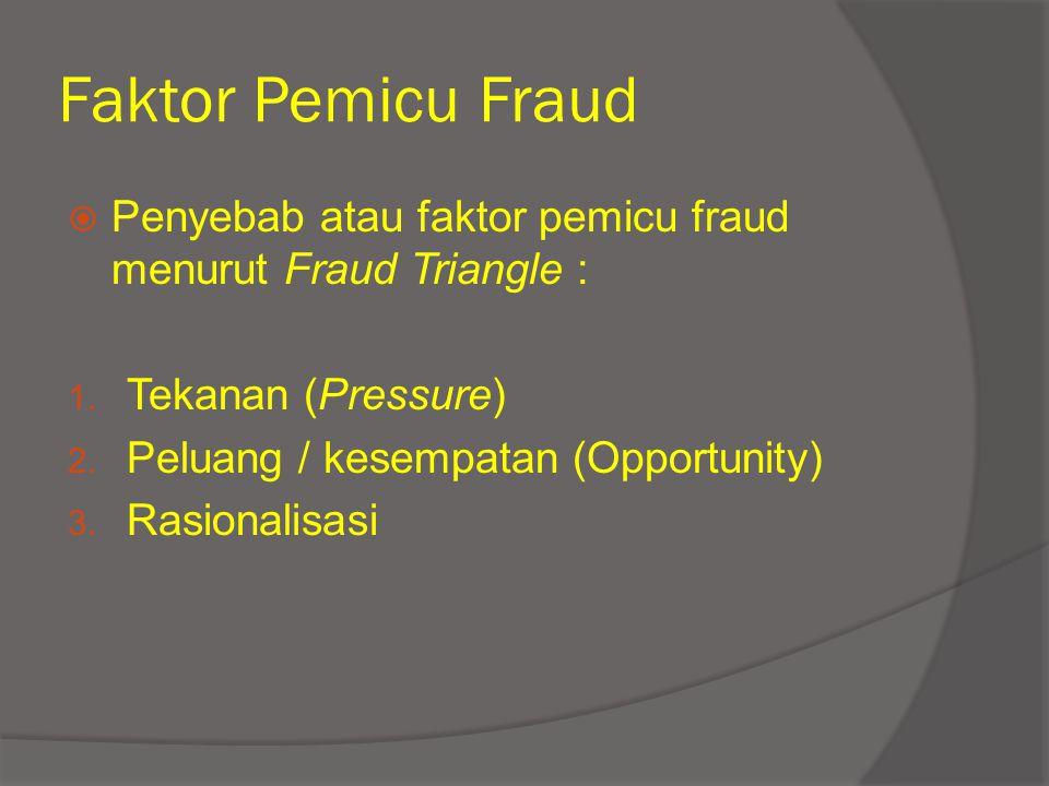 Faktor Pemicu Fraud  Penyebab atau faktor pemicu fraud menurut Fraud Triangle : 1. Tekanan (Pressure) 2. Peluang / kesempatan (Opportunity) 3. Rasion