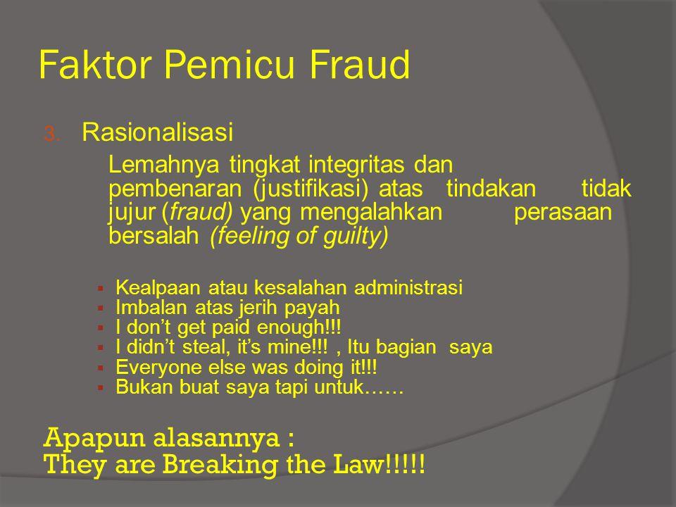 Faktor Pemicu Fraud 3. Rasionalisasi Lemahnya tingkat integritas dan pembenaran (justifikasi) atas tindakan tidak jujur (fraud) yang mengalahkan peras