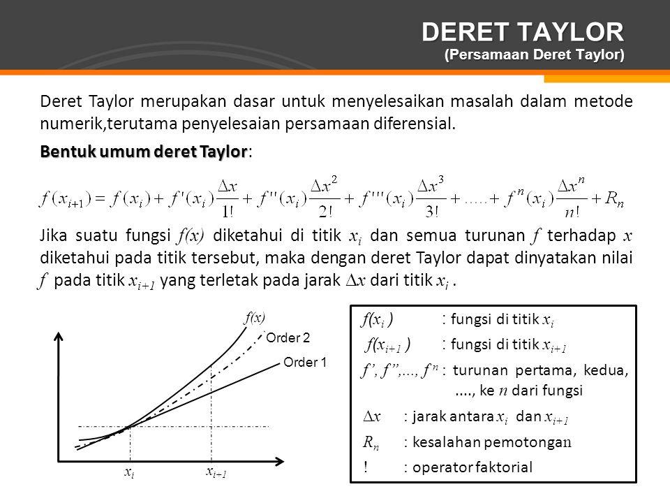Page  12 DERET TAYLOR (Persamaan Deret Taylor) Deret Taylor merupakan dasar untuk menyelesaikan masalah dalam metode numerik,terutama penyelesaian pe