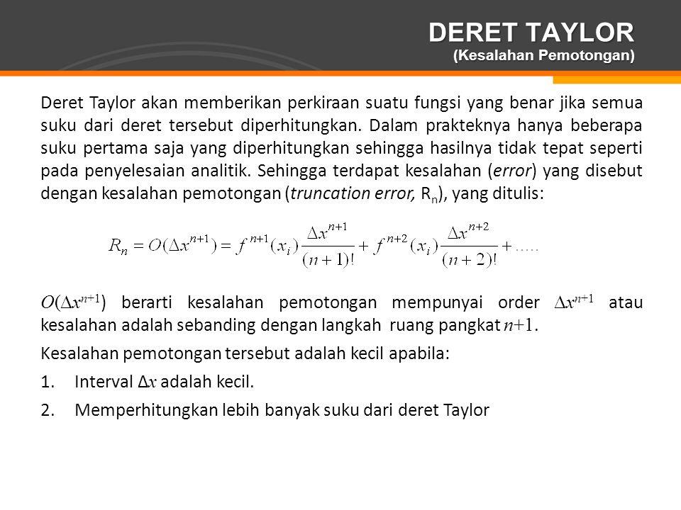 Page  15 DERET TAYLOR (Kesalahan Pemotongan) Deret Taylor akan memberikan perkiraan suatu fungsi yang benar jika semua suku dari deret tersebut diper