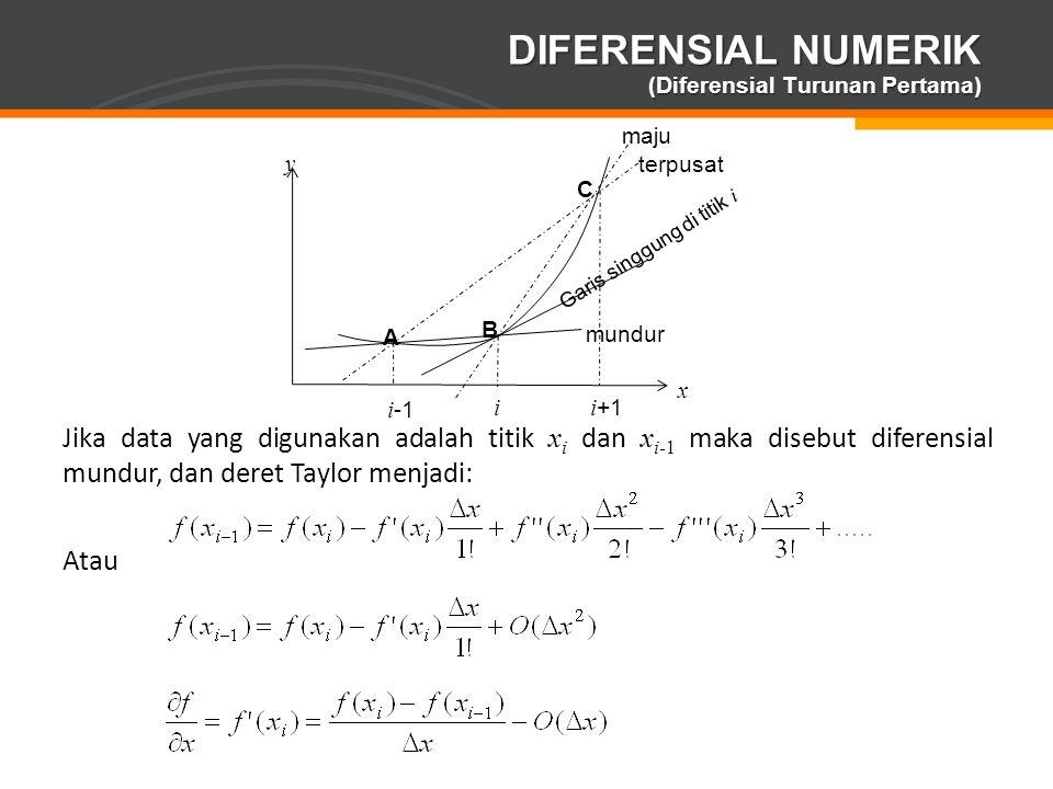 Page  17 DIFERENSIAL NUMERIK (Diferensial Turunan Pertama) Jika data yang digunakan adalah titik x i dan x i-1 maka disebut diferensial mundur, dan d