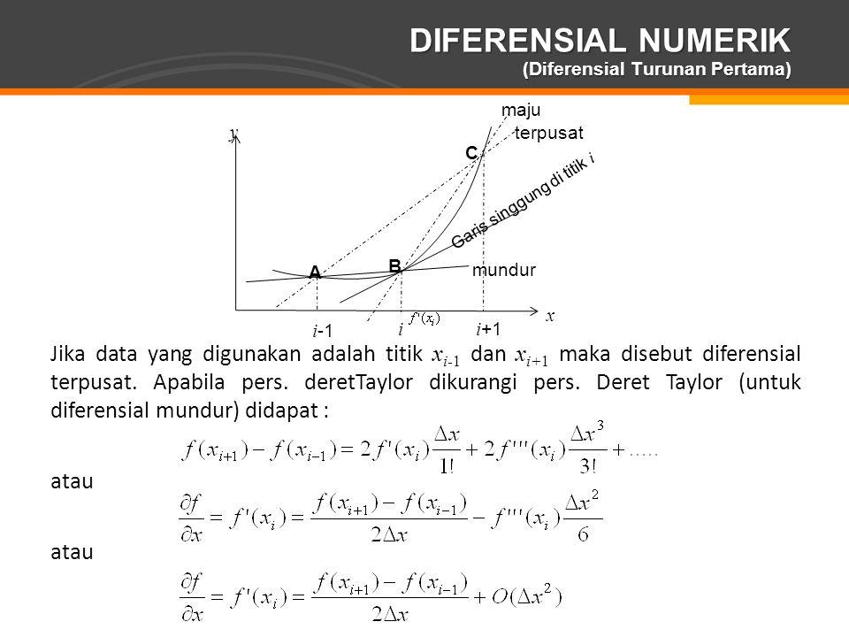 Page  18 DIFERENSIAL NUMERIK (Diferensial Turunan Pertama) A B C i -1 i i +1 maju terpusat mundur Garis singgung di titik i x y Jika data yang diguna