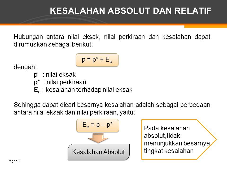 Page  7 KESALAHAN ABSOLUT DAN RELATIF Hubungan antara nilai eksak, nilai perkiraan dan kesalahan dapat dirumuskan sebagai berikut: p = p* + E e denga