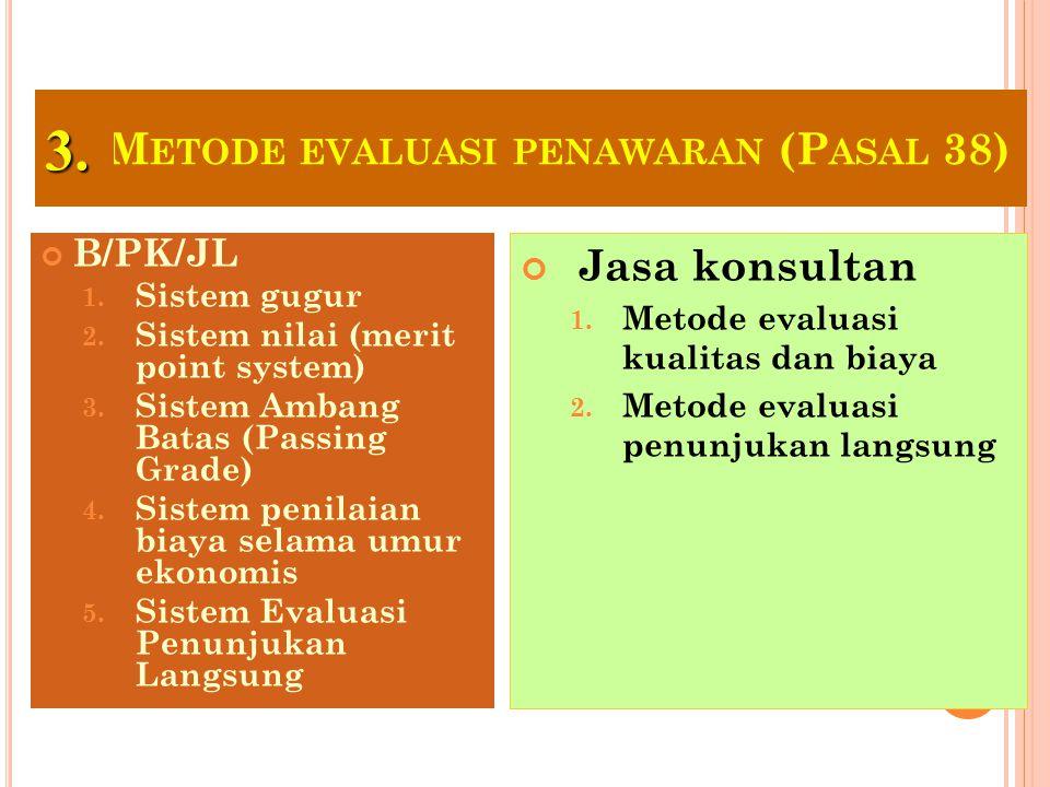 34 M ETODE PENYAMPAIAN DOKUMEN PENAWARAN (P ASAL 37) B/PK/JL 1. Metode satu sampul 2. Metode dua sampul Jasa konsultan 1. Metode satu sampul 2. Metode