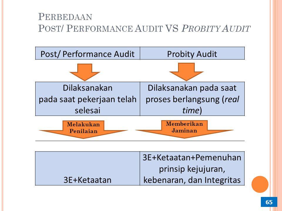 P ROBITY A UDIT PBJ 64 Probity Audit PBJ adalah audit dengan tujuan tertentu, (vide penjelasan Pasal 4 ayat 4 Undang-undang No. 15 Tahun 2004 tentang
