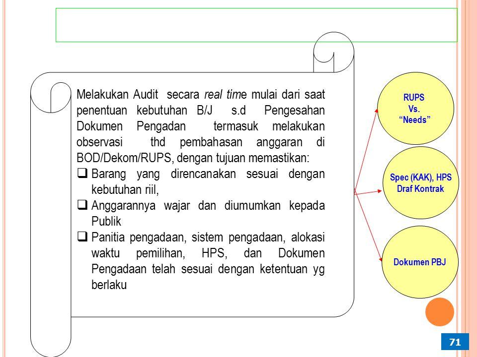 Jenis Pengadaan B/J Yang Dilakukan Probity Audit 70