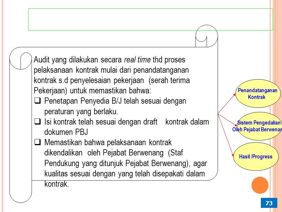 Pengumuman IMPLEMENTASI PROBITY AUDIT PADA TAHAP PEMILIHAN PENYEDIA BARANG/JASA Proses Pemilihan Penentuan Penyedia B/J 72 Melakukan audit secara real