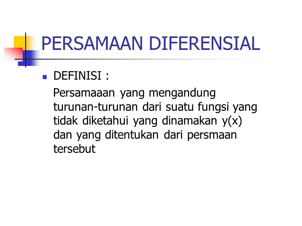 PERSAMAAN DIFERENSIAL DEFINISI : Persamaaan yang mengandung turunan-turunan dari suatu fungsi yang tidak diketahui yang dinamakan y(x) dan yang ditent