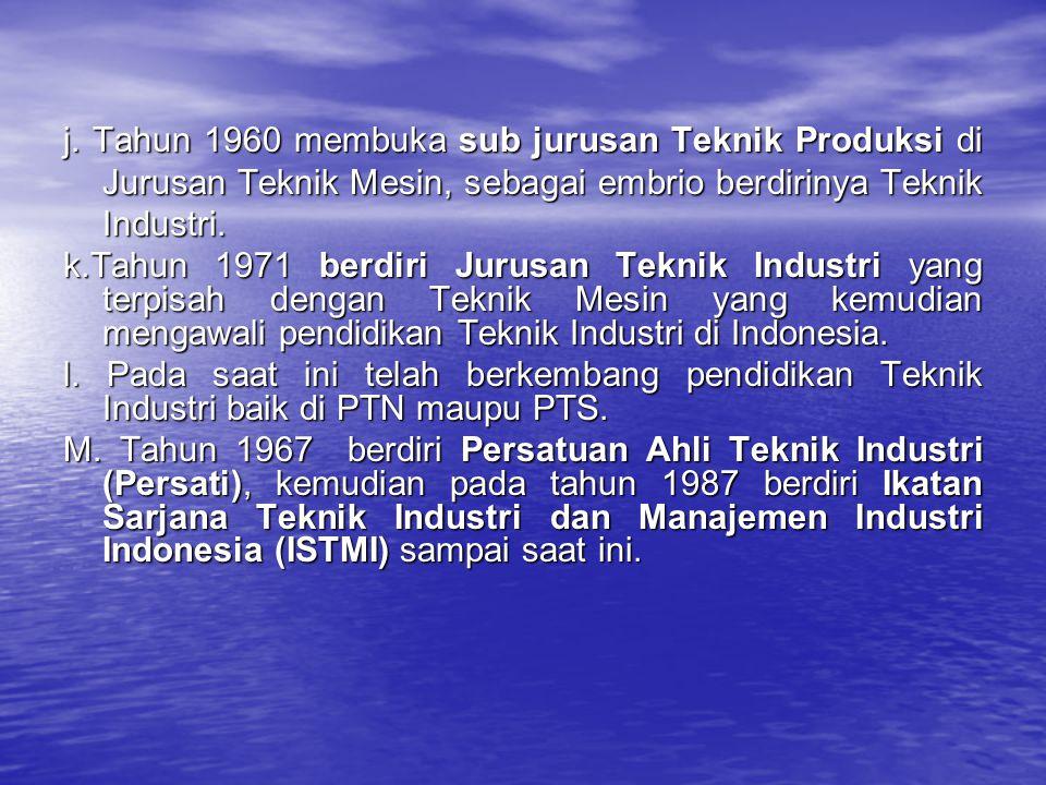 j. Tahun 1960 membuka sub jurusan Teknik Produksi di Jurusan Teknik Mesin, sebagai embrio berdirinya Teknik Industri. k.Tahun 1971 berdiri Jurusan Tek