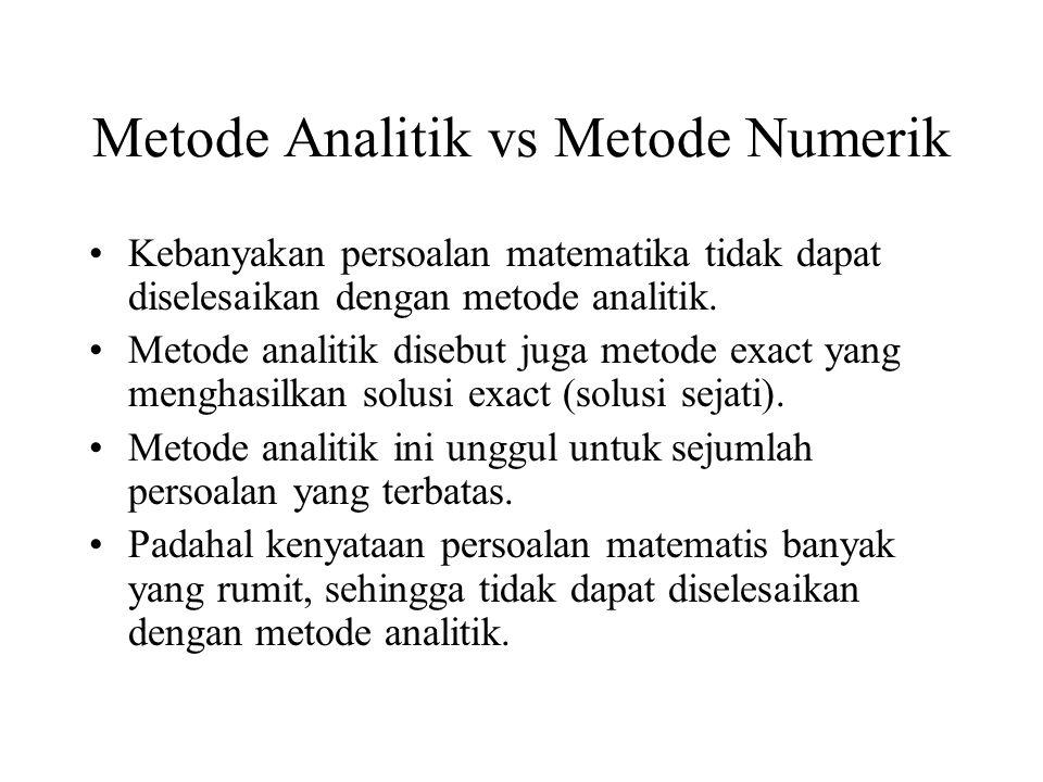 Metode Analitik vs Metode Numerik Kebanyakan persoalan matematika tidak dapat diselesaikan dengan metode analitik.
