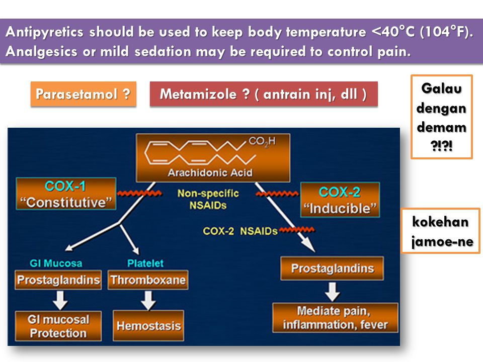 Antipyretics should be used to keep body temperature <40°C (104°F). Analgesics or mild sedation may be required to control pain. Parasetamol ? Metamiz