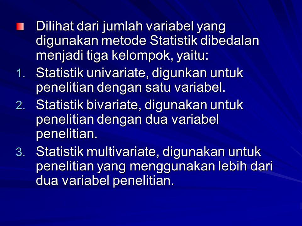 Dilihat dari jumlah variabel yang digunakan metode Statistik dibedalan menjadi tiga kelompok, yaitu: 1.