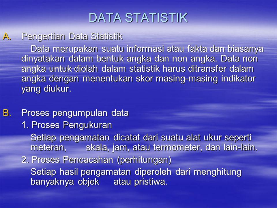 DATA STATISTIK A.Pengertian Data Statistik Data merupakan suatu informasi atau fakta dan biasanya dinyatakan dalam bentuk angka dan non angka.