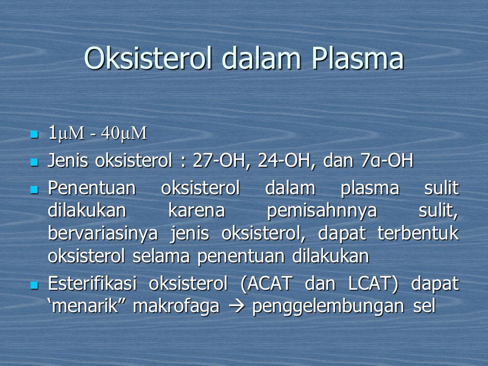 Oksisterol dalam Plasma 1 μM - 40μM 1 μM - 40μM Jenis oksisterol : 27-OH, 24-OH, dan 7α-OH Jenis oksisterol : 27-OH, 24-OH, dan 7α-OH Penentuan oksist