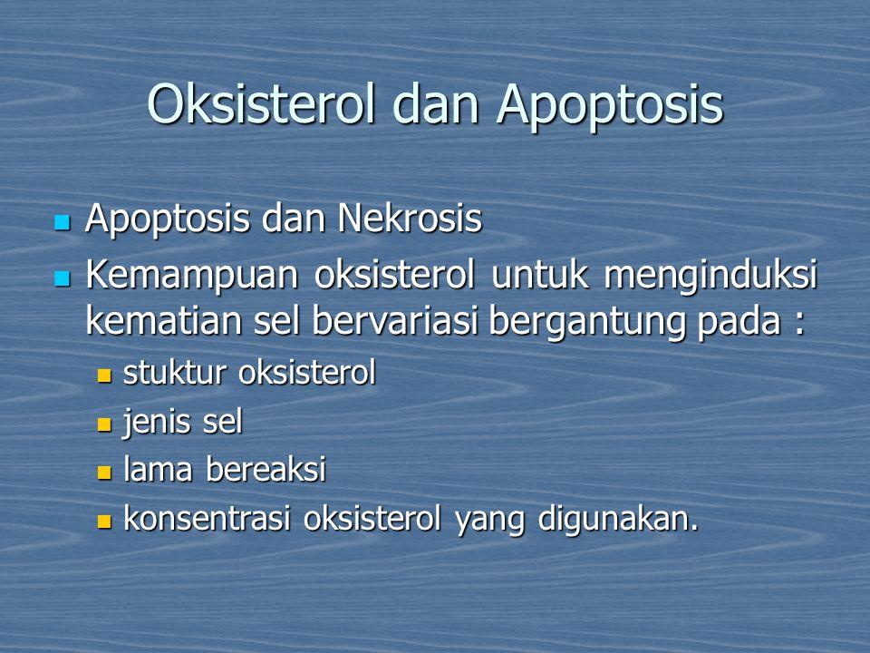Oksisterol dan Apoptosis Apoptosis dan Nekrosis Apoptosis dan Nekrosis Kemampuan oksisterol untuk menginduksi kematian sel bervariasi bergantung pada