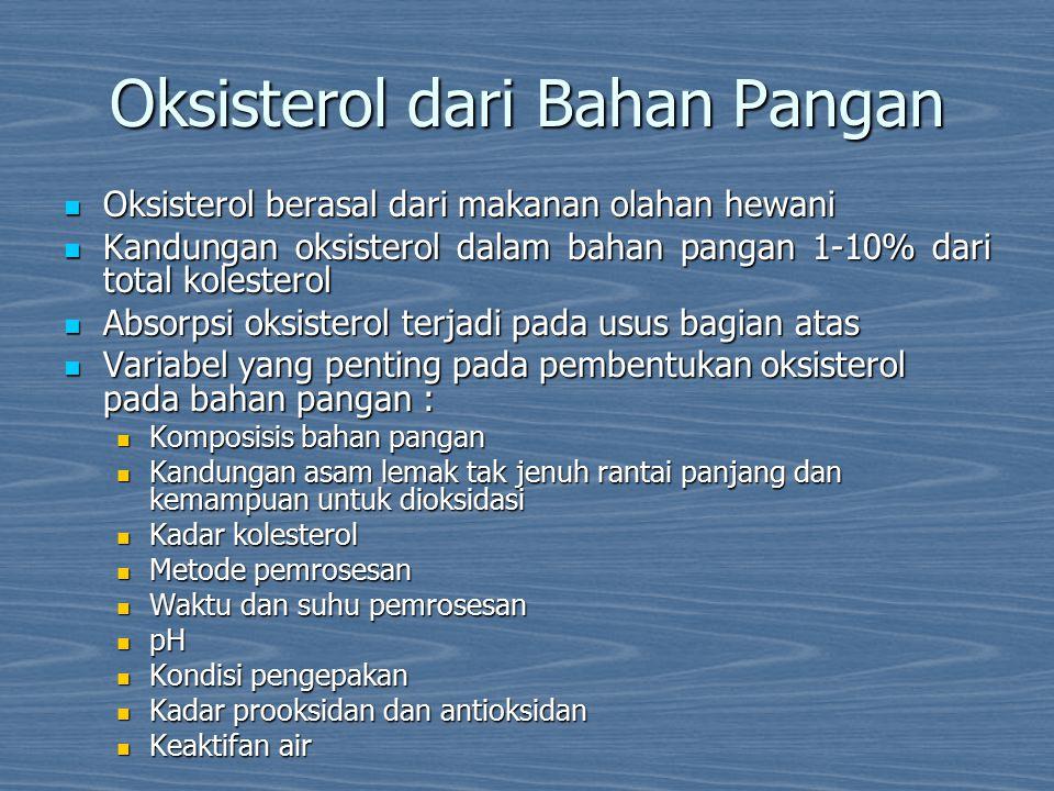 Bahan pangan yang kaya akan kolesterol : Bahan pangan yang kaya akan kolesterol : telur dan produk yang berasal dari telur telur dan produk yang berasal dari telur daging dan produk yang berasal dari daging daging dan produk yang berasal dari daging lemak hewani lemak hewani ikan dan minyak ikan ikan dan minyak ikan susu dan produk yang berasal dari susu susu dan produk yang berasal dari susu Gorengan Gorengan Oksisterol yang banyak ditemukan dalam bahan pangan : Oksisterol yang banyak ditemukan dalam bahan pangan : 7-ketokolesterol (7-keto) 7-ketokolesterol (7-keto) 7α-hidroksikolesterol (7α-OH) 7α-hidroksikolesterol (7α-OH) 7β-hidroksikolesterol (7β-OH) 7β-hidroksikolesterol (7β-OH) kolesterol 5α,6α-epoksida ( α- epoksida) kolesterol 5α,6α-epoksida ( α- epoksida) kolesterol 5β,6β-epoksida (β-epoksida) kolesterol 5β,6β-epoksida (β-epoksida) 25-hidroksikolesterol (25-OH) 25-hidroksikolesterol (25-OH) 19-hidroksikolesterol (19-OH) 19-hidroksikolesterol (19-OH) 20-hidroksikolesterol (20-OH) 20-hidroksikolesterol (20-OH) koestantriol (triol) [6,7] koestantriol (triol) [6,7]
