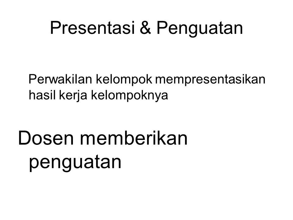 Presentasi & Penguatan Perwakilan kelompok mempresentasikan hasil kerja kelompoknya Dosen memberikan penguatan