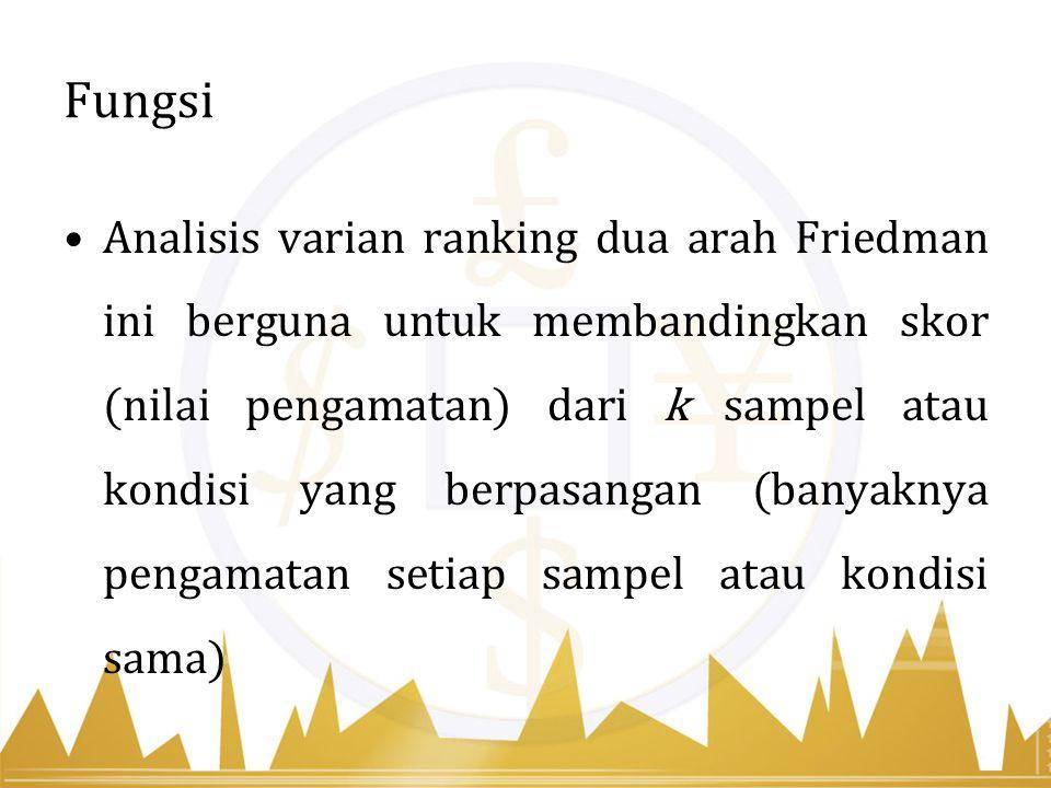 Fungsi Analisis varian ranking dua arah Friedman ini berguna untuk membandingkan skor (nilai pengamatan) dari k sampel atau kondisi yang berpasangan (