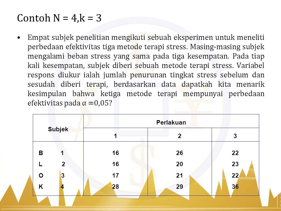 Contoh N = 4,k = 3 Empat subjek penelitian mengikuti sebuah eksperimen untuk meneliti perbedaan efektivitas tiga metode terapi stress. Masing-masing s