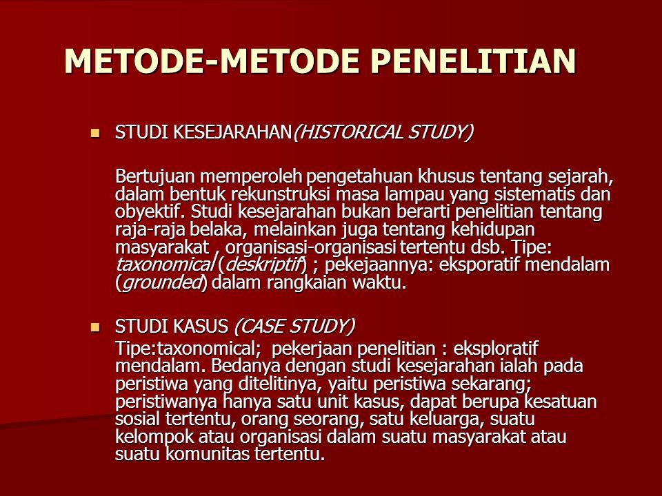 METODE-METODE PENELITIAN STUDI KESEJARAHAN(HISTORICAL STUDY) STUDI KESEJARAHAN(HISTORICAL STUDY) Bertujuan memperoleh pengetahuan khusus tentang sejar