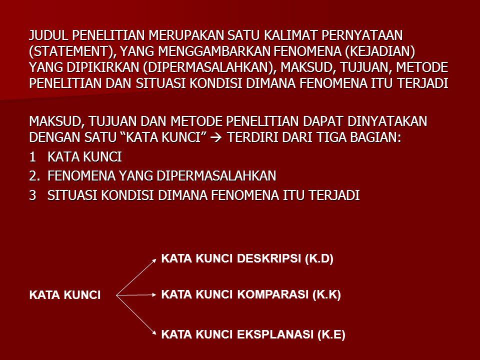 JUDUL PENELITIAN MERUPAKAN SATU KALIMAT PERNYATAAN (STATEMENT), YANG MENGGAMBARKAN FENOMENA (KEJADIAN) YANG DIPIKIRKAN (DIPERMASALAHKAN), MAKSUD, TUJU