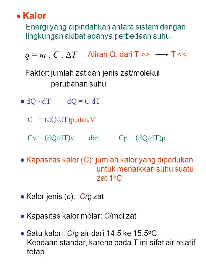● Kapasitas kalor (C): jumlah kalor yang diperlukan untuk menaikkan suhu suatu zat 1 o C Aliran Q: dari T >> T << Faktor: jumlah zat dan jenis zat/mol