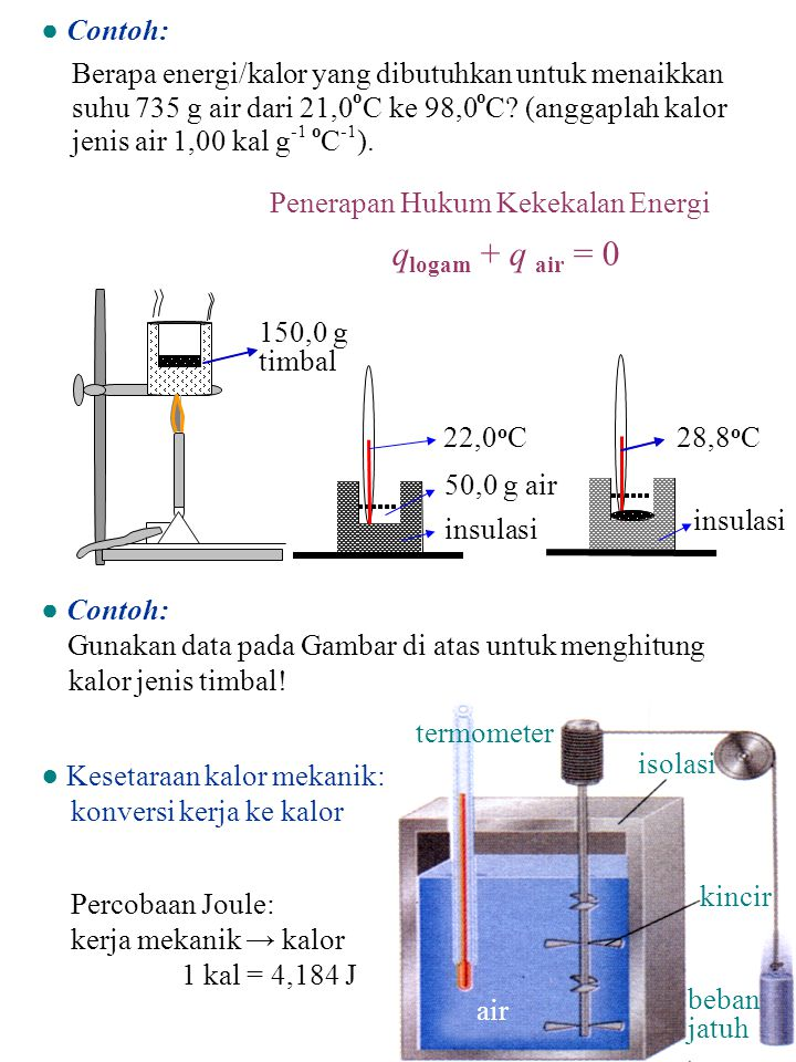● Contoh: Berapa energi/kalor yang dibutuhkan untuk menaikkan suhu 735 g air dari 21,0 o C ke 98,0 o C? (anggaplah kalor jenis air 1,00 kal g -1 o C -