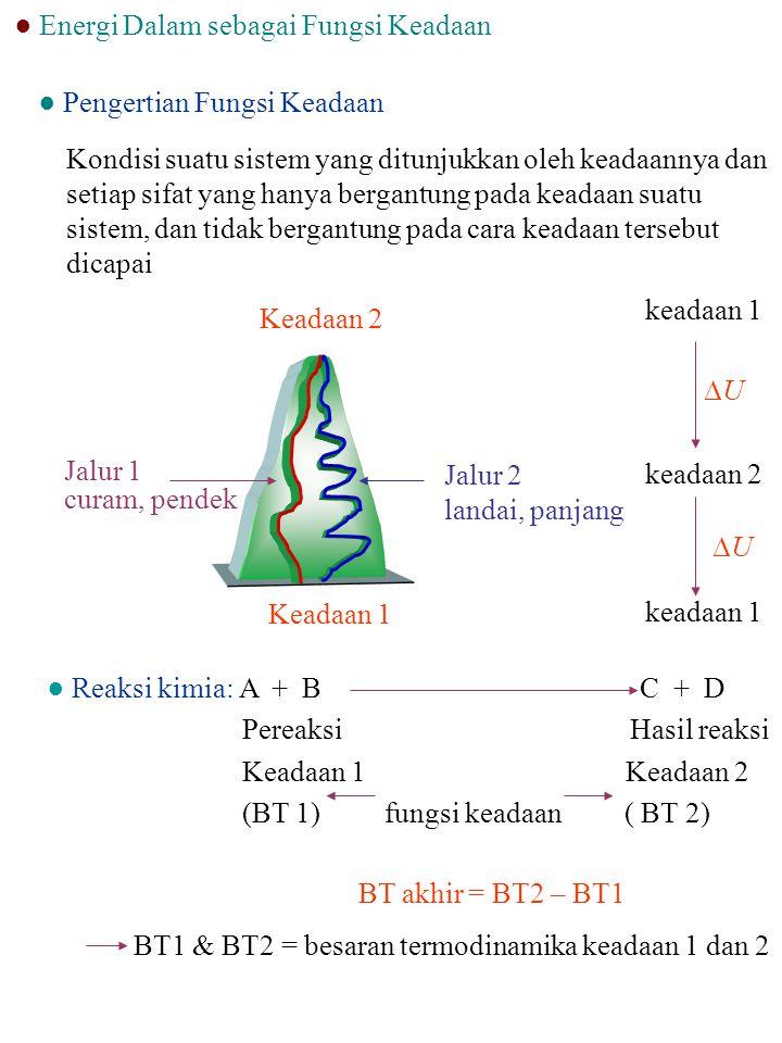 Fungsi Keadaan U, H, Sdiff eksakdU, dH, dS Fungsi Jalan Q,Wdiff tak eksakdQ, d W Variabel Keadaan P, V, T, n-- Sifat suatu sistem yang bergantung pada jalannya proses.
