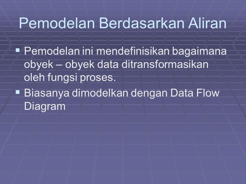 Pemodelan Berdasarkan Aliran   Pemodelan ini mendefinisikan bagaimana obyek – obyek data ditransformasikan oleh fungsi proses.   Biasanya dimodelk