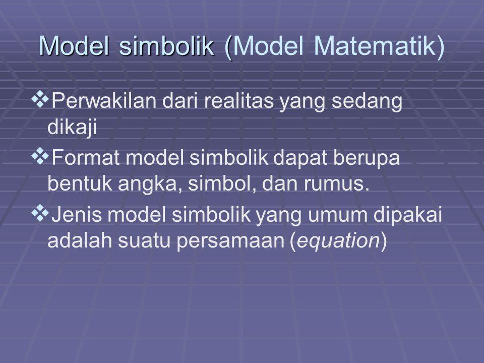 Model simbolik ( Model simbolik (Model Matematik)   Perwakilan dari realitas yang sedang dikaji   Format model simbolik dapat berupa bentuk angka,