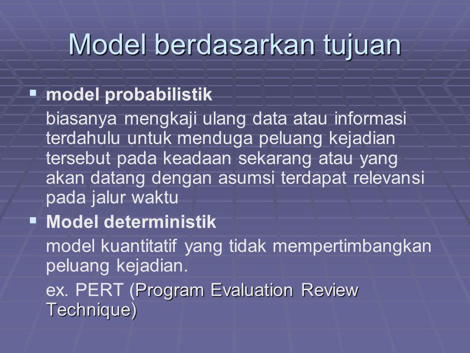 Model berdasarkan tujuan   model probabilistik biasanya mengkaji ulang data atau informasi terdahulu untuk menduga peluang kejadian tersebut pada keadaan sekarang atau yang akan datang dengan asumsi terdapat relevansi pada jalur waktu   Model deterministik model kuantitatif yang tidak mempertimbangkan peluang kejadian.