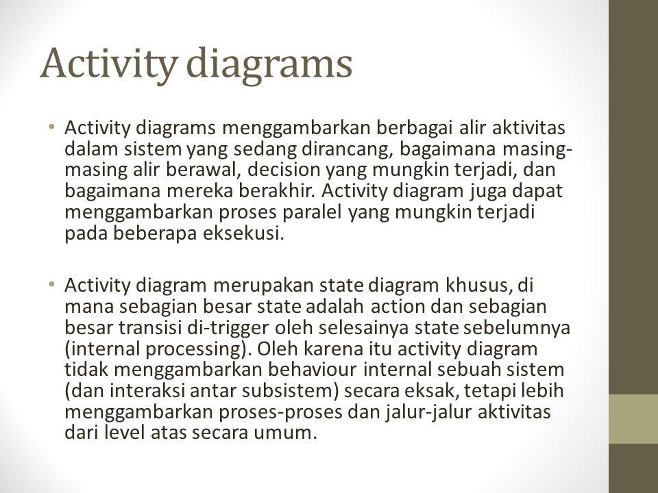 Activity diagrams Activity diagrams menggambarkan berbagai alir aktivitas dalam sistem yang sedang dirancang, bagaimana masing- masing alir berawal, d