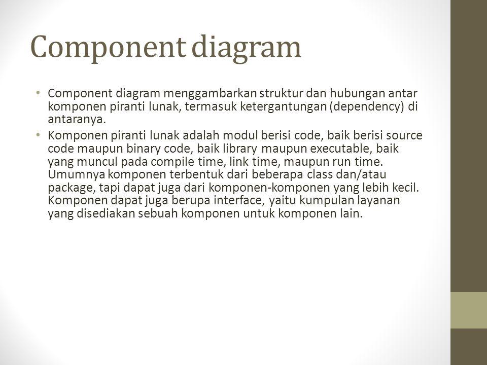 Component diagram Component diagram menggambarkan struktur dan hubungan antar komponen piranti lunak, termasuk ketergantungan (dependency) di antarany