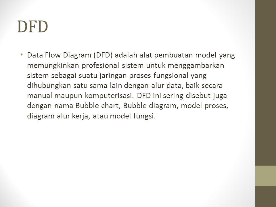 DFD Data Flow Diagram (DFD) adalah alat pembuatan model yang memungkinkan profesional sistem untuk menggambarkan sistem sebagai suatu jaringan proses
