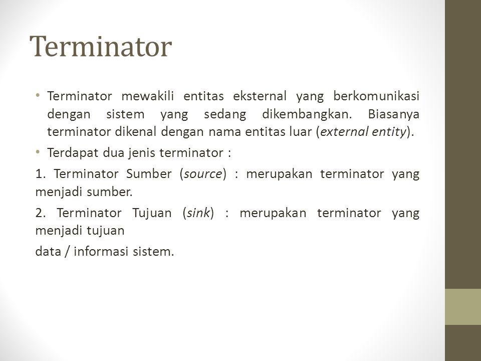 Terminator Terminator mewakili entitas eksternal yang berkomunikasi dengan sistem yang sedang dikembangkan. Biasanya terminator dikenal dengan nama en