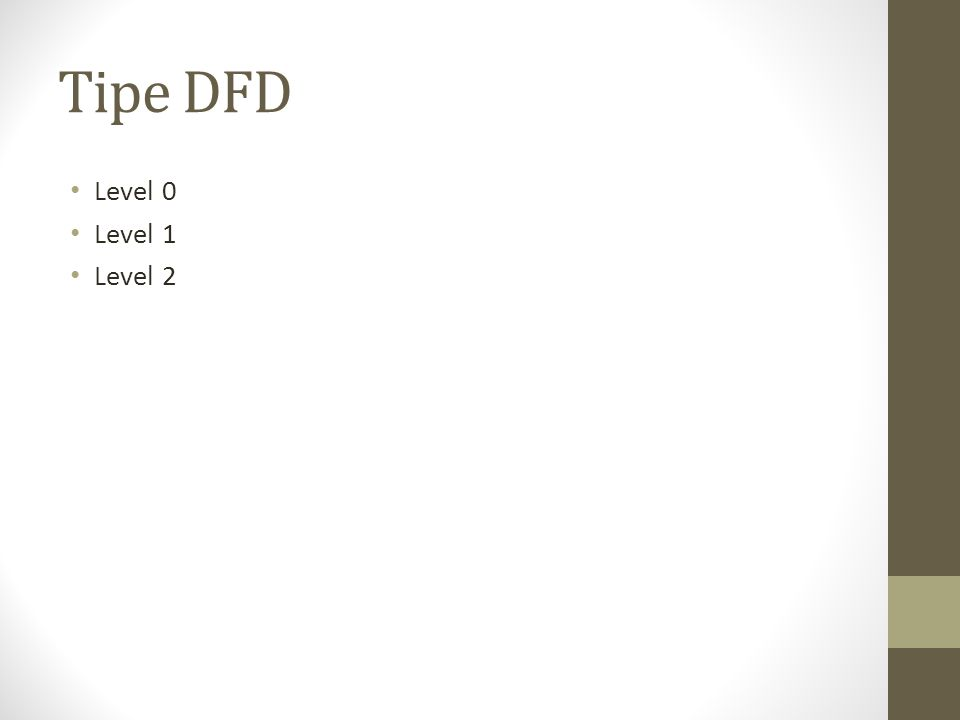 Tipe DFD Level 0 Level 1 Level 2
