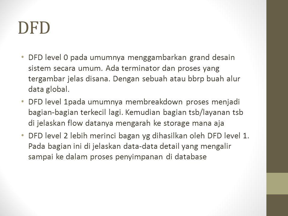 DFD DFD level 0 pada umumnya menggambarkan grand desain sistem secara umum. Ada terminator dan proses yang tergambar jelas disana. Dengan sebuah atau