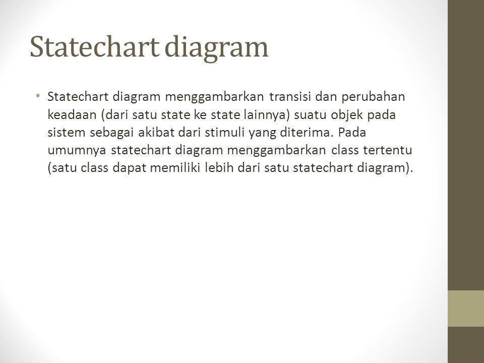 Statechart diagram Statechart diagram menggambarkan transisi dan perubahan keadaan (dari satu state ke state lainnya) suatu objek pada sistem sebagai