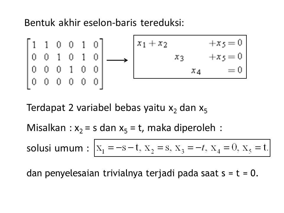 Bentuk akhir eselon-baris tereduksi: dan penyelesaian trivialnya terjadi pada saat s = t = 0. solusi umum : Terdapat 2 variabel bebas yaitu x 2 dan x
