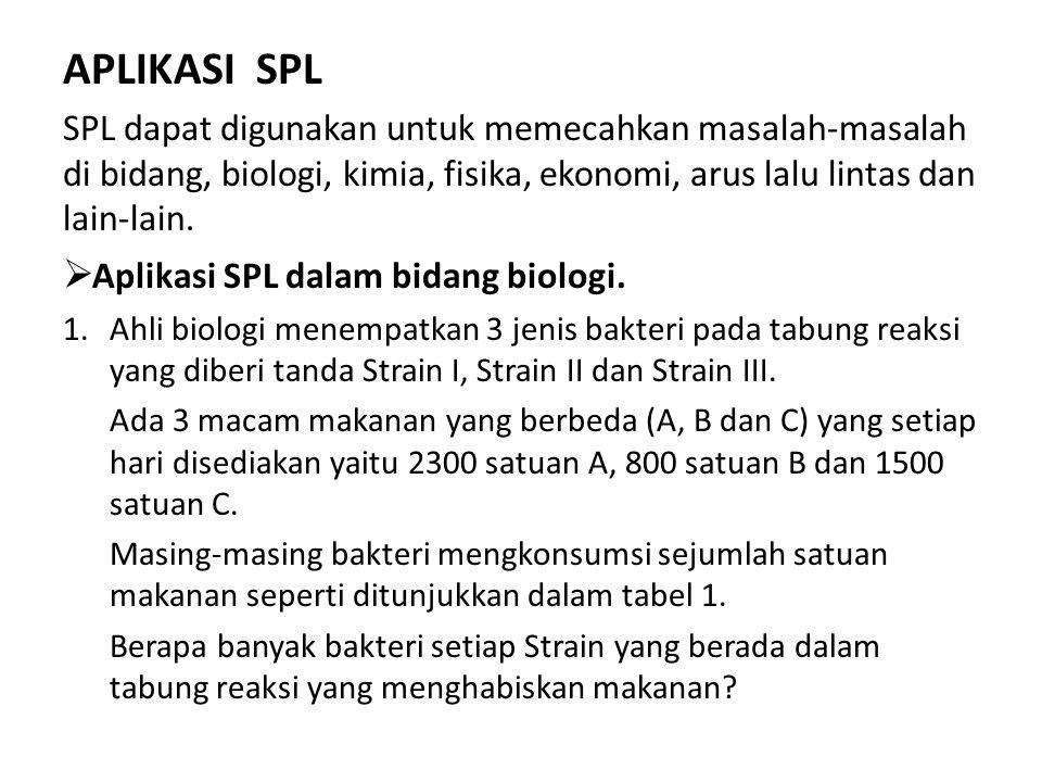 APLIKASI SPL SPL dapat digunakan untuk memecahkan masalah-masalah di bidang, biologi, kimia, fisika, ekonomi, arus lalu lintas dan lain-lain.  Aplika