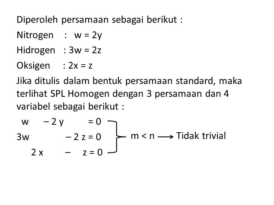 Diperoleh persamaan sebagai berikut : Nitrogen : w = 2y Hidrogen : 3w = 2z Oksigen : 2x = z Jika ditulis dalam bentuk persamaan standard, maka terliha