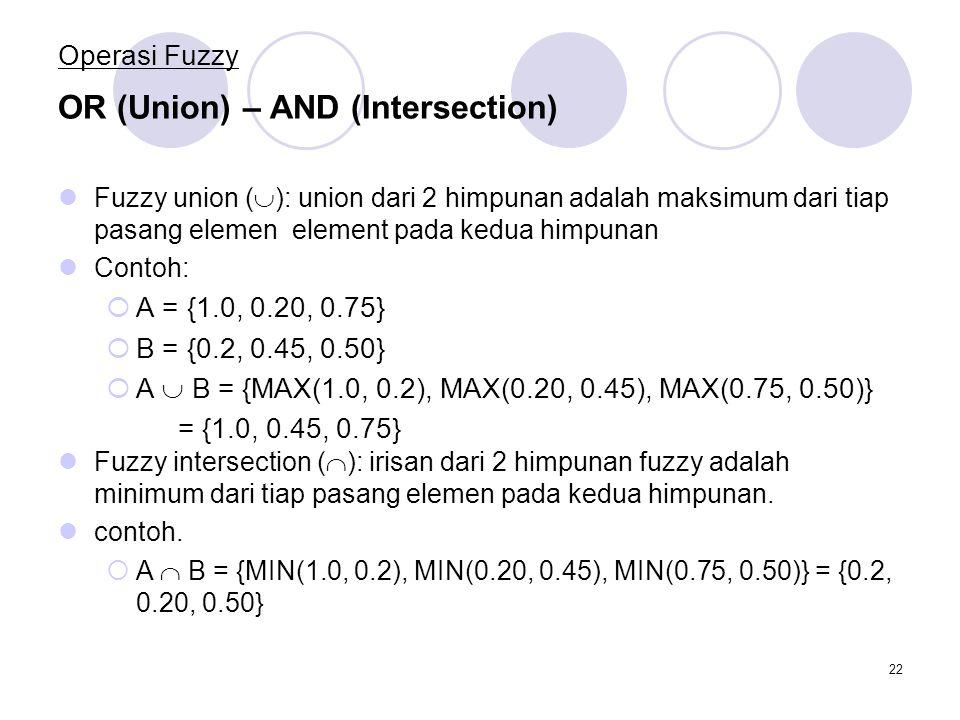 22 Operasi Fuzzy Fuzzy union (  ): union dari 2 himpunan adalah maksimum dari tiap pasang elemen element pada kedua himpunan Contoh:  A = {1.0, 0.20, 0.75}  B = {0.2, 0.45, 0.50}  A  B = {MAX(1.0, 0.2), MAX(0.20, 0.45), MAX(0.75, 0.50)} = {1.0, 0.45, 0.75} OR (Union) – AND (Intersection) Fuzzy intersection (  ): irisan dari 2 himpunan fuzzy adalah minimum dari tiap pasang elemen pada kedua himpunan.
