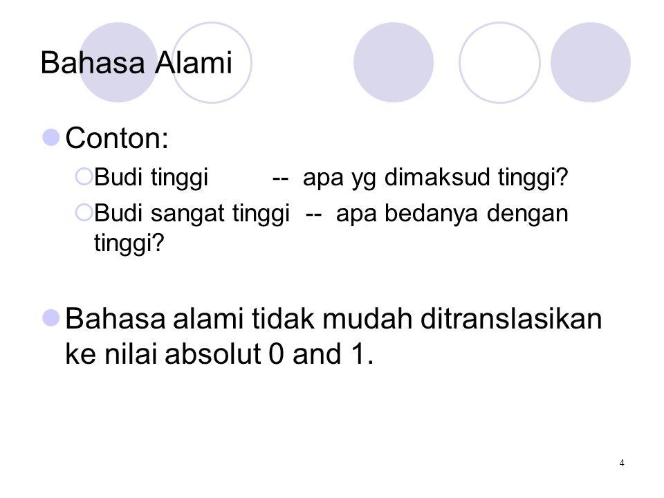 4 Bahasa Alami Conton:  Budi tinggi -- apa yg dimaksud tinggi.