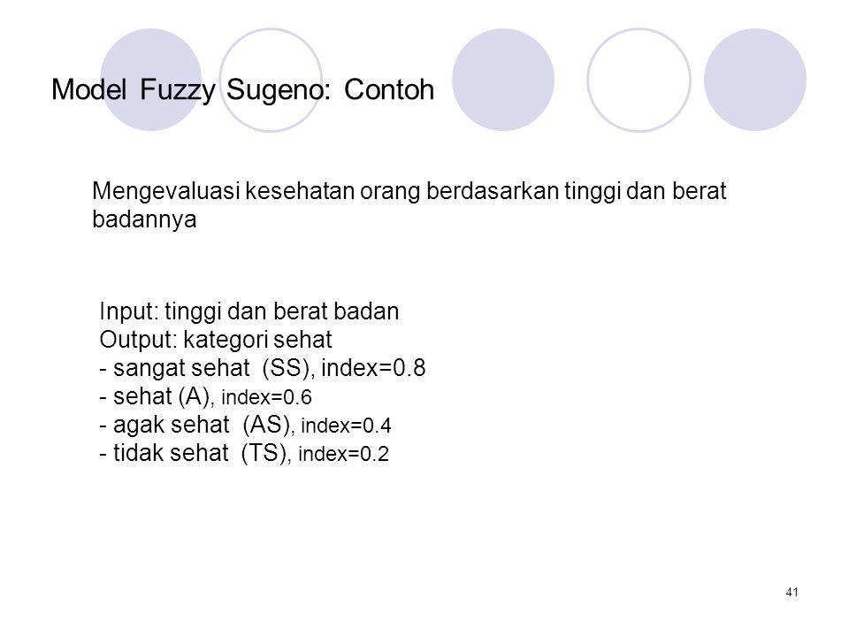 41 Model Fuzzy Sugeno: Contoh Mengevaluasi kesehatan orang berdasarkan tinggi dan berat badannya Input: tinggi dan berat badan Output: kategori sehat - sangat sehat (SS), index=0.8 - sehat (A), index=0.6 - agak sehat (AS), index=0.4 - tidak sehat (TS), index=0.2
