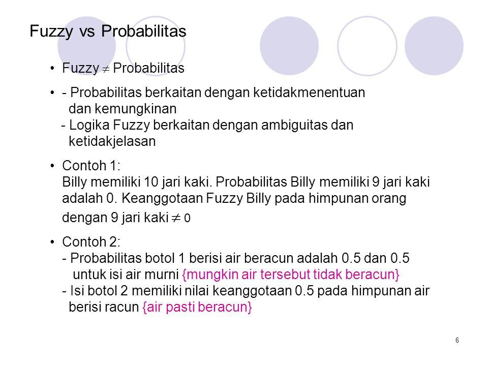 6 Fuzzy vs Probabilitas Fuzzy  Probabilitas - Probabilitas berkaitan dengan ketidakmenentuan dan kemungkinan - Logika Fuzzy berkaitan dengan ambiguitas dan ketidakjelasan Contoh 1: Billy memiliki 10 jari kaki.