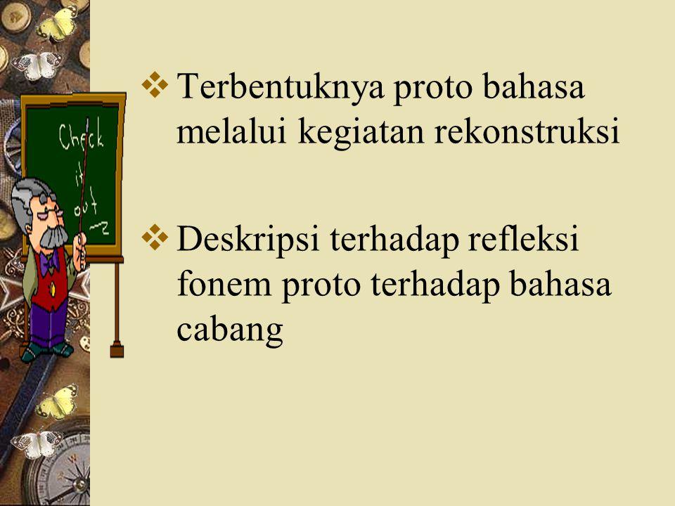  Terbentuknya proto bahasa melalui kegiatan rekonstruksi  Deskripsi terhadap refleksi fonem proto terhadap bahasa cabang