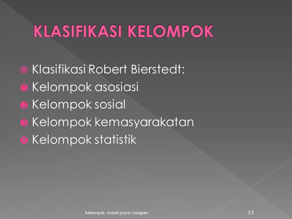  Klasifikasi Robert Bierstedt:  Kelompok asosiasi  Kelompok sosial  Kelompok kemasyarakatan  Kelompok statistik kelompok sosial-joyce csiagian 13