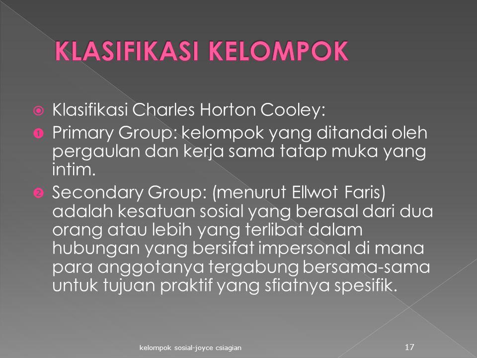  Klasifikasi Charles Horton Cooley:  Primary Group: kelompok yang ditandai oleh pergaulan dan kerja sama tatap muka yang intim.  Secondary Group: (